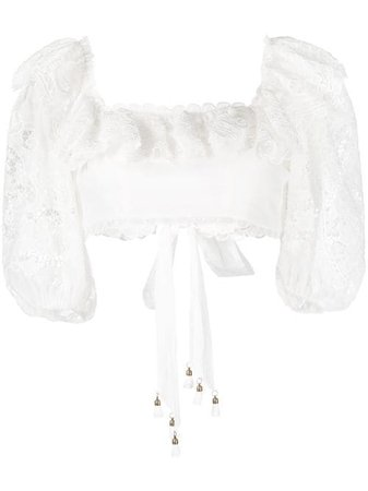 Shop white Zimmermann The Lovestruck cropped blouse with Express Delivery - Farfetch