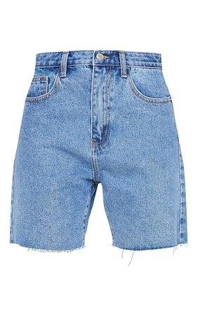 Plt Mid Blue Wash Longline Fitted Denim Shorts | PrettyLittleThing