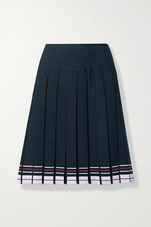 Pleated Striped Stretch-knit Skirt - Navy