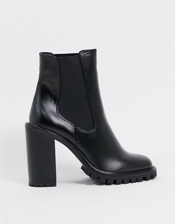 ASOS DESIGN Expect high heeled chunky chelsea boots in black | ASOS