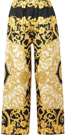 Printed Cropped Silk-charmeuse Wide-leg Pants - Yellow