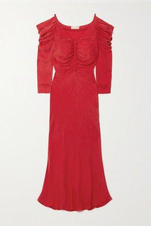 Ruffled Cupro Midi Dress - Red