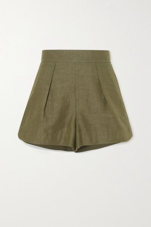 Pleated Linen And Cotton-blend Shorts - Green