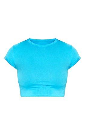 Basic Bright Blue Short Sleeve Crop T Shirt | PrettyLittleThing