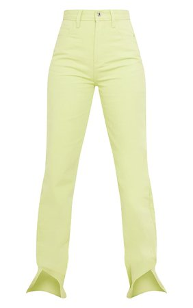 Tall Lime Washed Split Hem Denim Jeans   Tall   PrettyLittleThing USA
