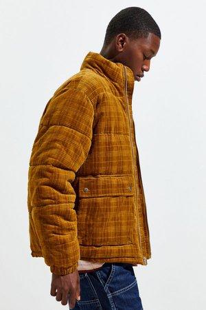UO Debossed Corduroy Puffer Jacket | Urban Outfitters