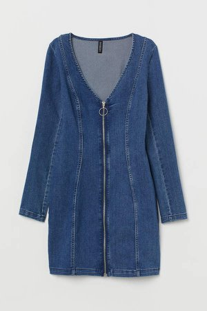 V-neck Denim Dress - Blue