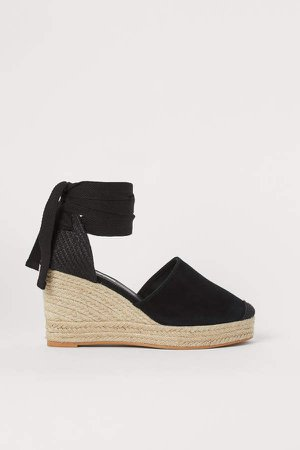 Suede Wedge-heeled Sandals - Black