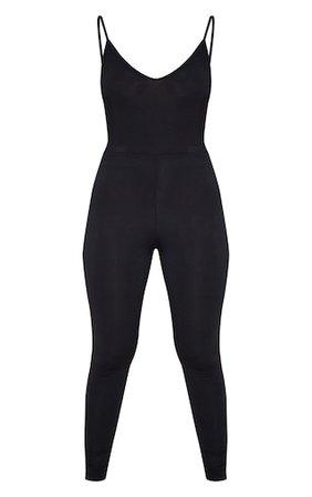 Black Basic Strappy Plunge Jumpsuit | PrettyLittleThing