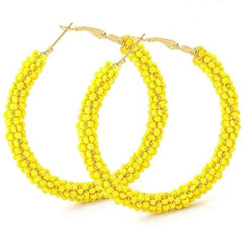 Beaded Hoop Earrings for Women - Big Circle Beaded Earrings Handmade - Idea for tea
