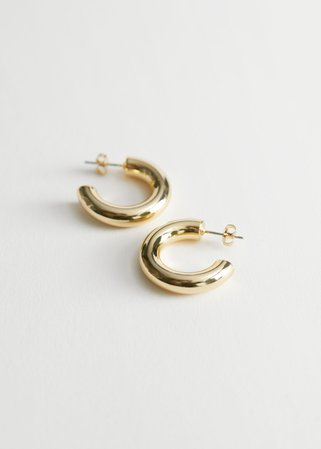 Chunky Open Hoop Earrings - Gold - Hoops - & Other Stories