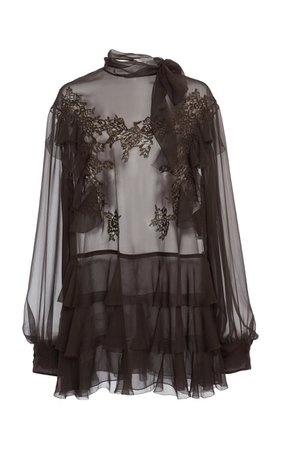 Ruffled Silk-Organza Top By Valentino   Moda Operandi