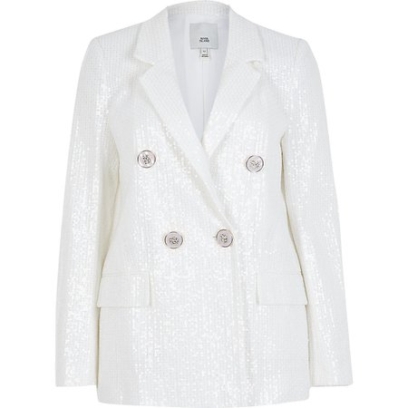 White sequin double breasted blazer | River Island