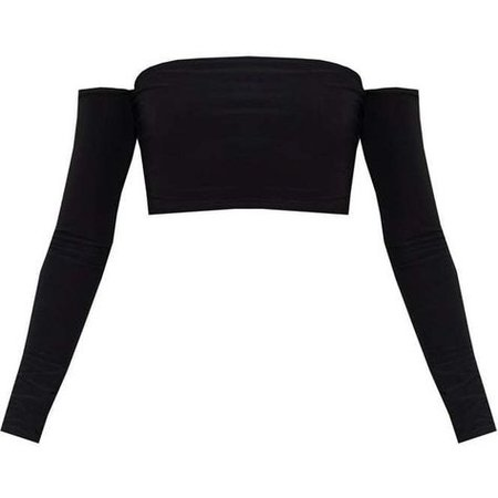 black Bardot sleeve crop top velvet