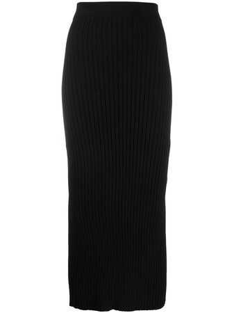 Black MM6 Maison Margiela rib-knit midi skirt S52MA0107S16773 - Farfetch