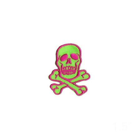 1 1/2 INCH Skull Crossbones Pink On Bright Green Patch Danger | Etsy