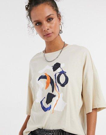 Monki Damali organic cotton abstract print t-shirt in beige | ASOS