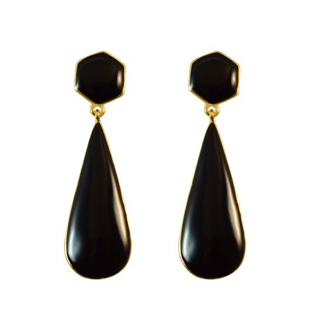 Sarah Black Long Tear Drop with Black Top Dangle Earrings for Girls Fancy Party Wear Earrings for Women
