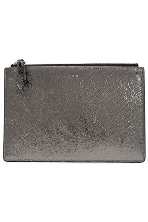 Abotti metallic cracked-leather pouch   IRO