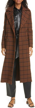 Lana Check Double Breasted Wool Blend Coat