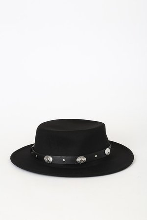 Cute Black Hat - Fedora Hat - Concho Hat - Flat Top Boater Hat