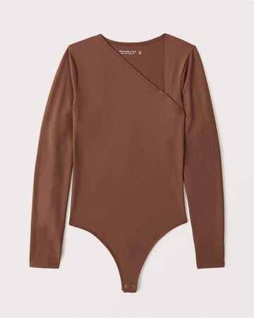 Women's Long-Sleeve Asymmetrical Neckline Seamless Bodysuit | Women's New Arrivals | Abercrombie.com