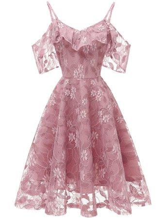 LaceShe Women's Spaghetti Straps Lace Sleeveless Dress