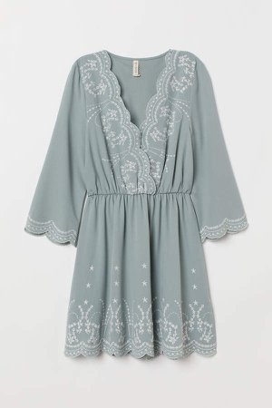 Dress with Embroidery - Turquoise