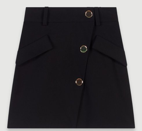 MAJE PARIS CREPE SKIRT WITH CONTRASTING BUTTONS