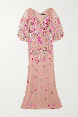 Pink Sugar Sweet embellished tulle gown | Jenny Packham | NET-A-PORTER