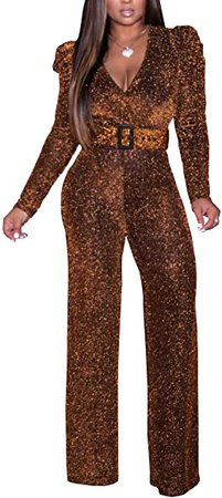 Amazon.com: shengfan Sparkly Jumpsuits for Women Plus Size Sexy Elegant Clubwear V Neck Long Sleeve Rompers with Belt: Clothing