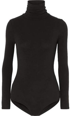Renay Stretch Cotton-blend Jersey Turtleneck Bodysuit - Black