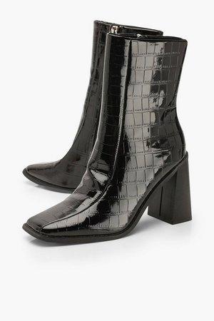 Croc Square Toe Block Heel Sock Boots | Boohoo