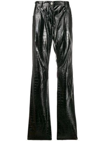 Msgm Crocodile Embossed Straight Trousers 2742MDP109195802 Black | Farfetch