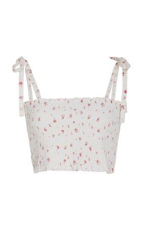 LoveShackFancy Gracie Smocked Floral Cotton Crop Top