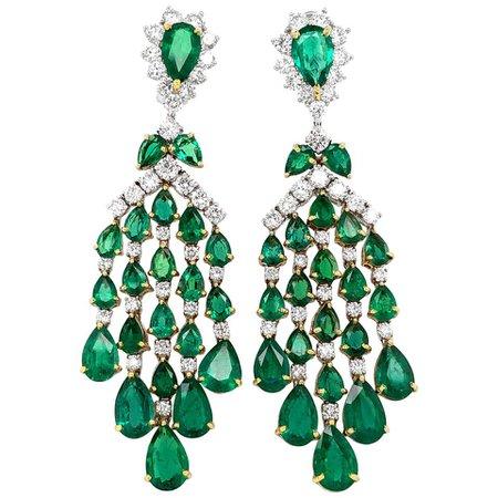 Zambian Pear Cut Emeralds 23.82 carat Diamonds Chandelier 18k Gold Earrings For Sale at 1stDibs
