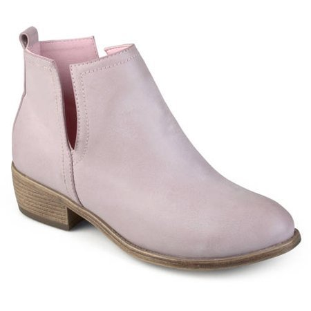 Brinley Co. - Womens Side Slit Faux Leather Stacked Heel Booties - Walmart.com pink