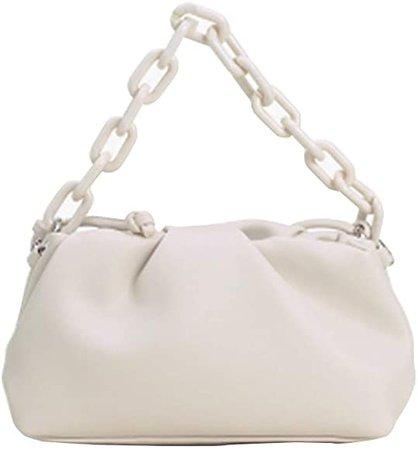 Women Cloud Shaped Purse, Dumplings Handbag Chain Shoulder Crossbody Bag Soft Satchel, White: Amazon.co.uk: Shoes & Bags
