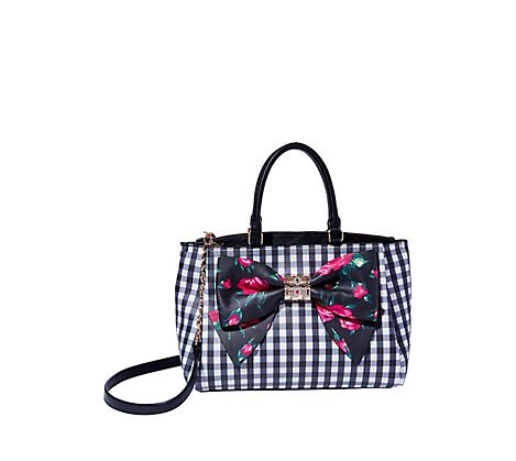 Black gingham satchel with black floral bow