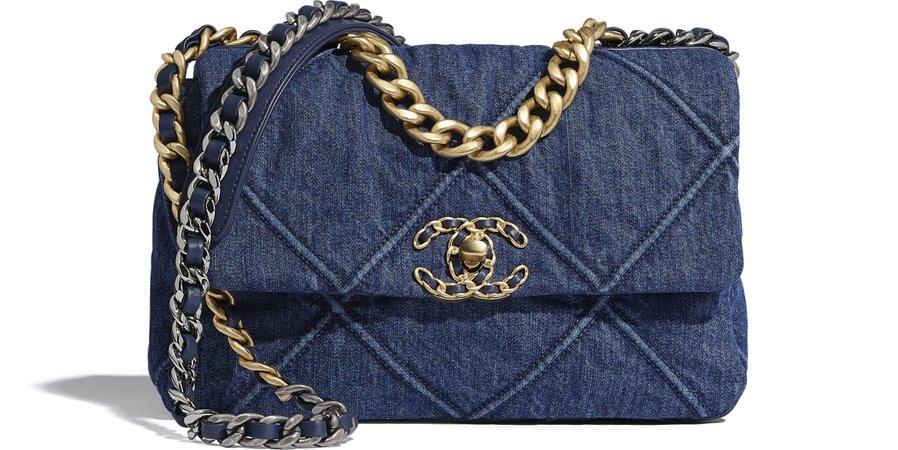 CHANEL 19 Flap Bag, denim, gold-tone, silver-tone & ruthenium-finish metal, blue - CHANEL