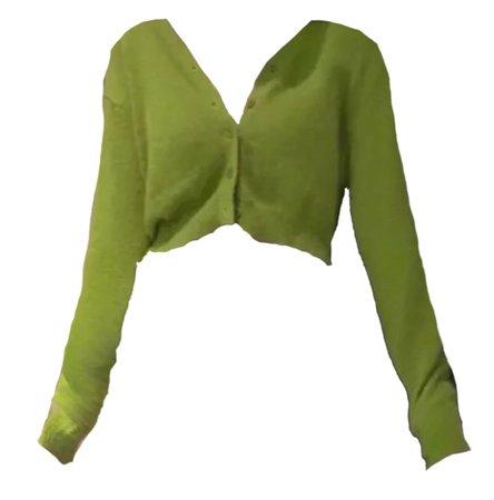 green cropped acrylic cardigan
