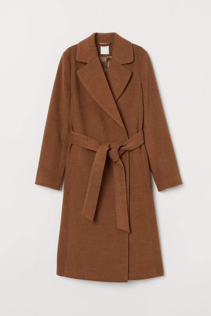 Coat with Tie Belt - Beige