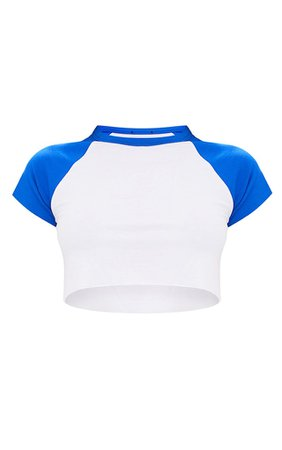 PRETTYLITTLETHING White & Cobalt Contrast Raglan Sleeve Raw Hem Crop Top