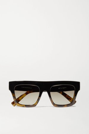 Black Subdimension D-frame tortoiseshell acetate sunglasses | Le Specs | NET-A-PORTER