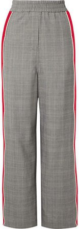 Striped Prince Of Wales Checked Wool Straight-leg Pants - Gray