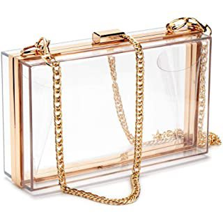 Women Clear Purse Acrylic Clear Clutch Bag, Shoulder Handbag With Removable Gold Chain Strap (Gold): Handbags: Amazon.com