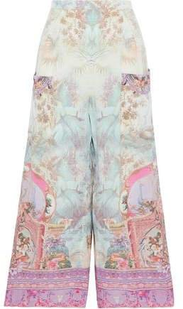 Crystal-embellished Printed Silk Crepe De Chine Wide-leg Pants