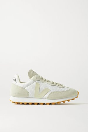 White + NET SUSTAIN Rio Branco leather-trimmed suede and mesh sneakers   VEJA   NET-A-PORTER