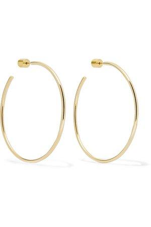"Jennifer Fisher | 2"" Thread gold-plated hoop earrings | NET-A-PORTER.COM"