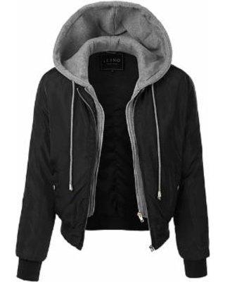 Black Hooded Bomber Jacket - Women